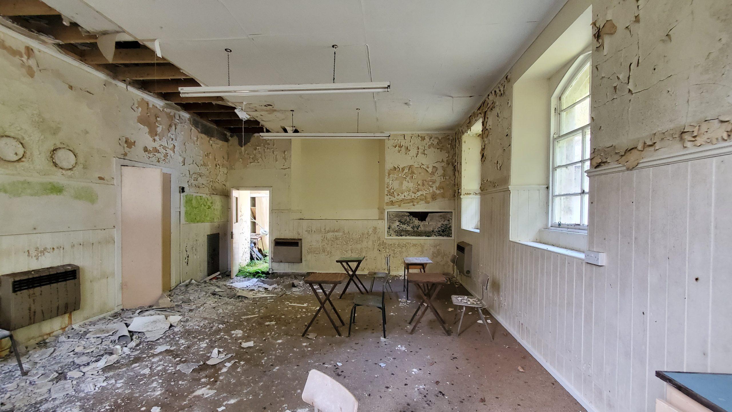 desks in an abandoned building