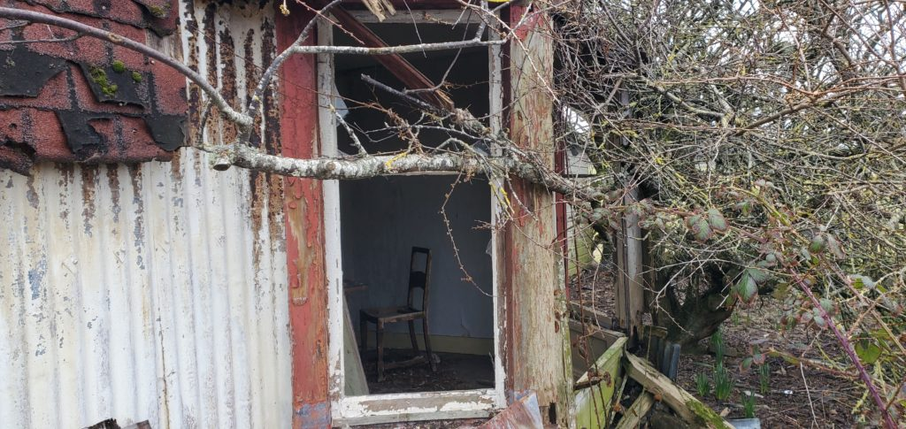 abandoned old farmhouse looking in