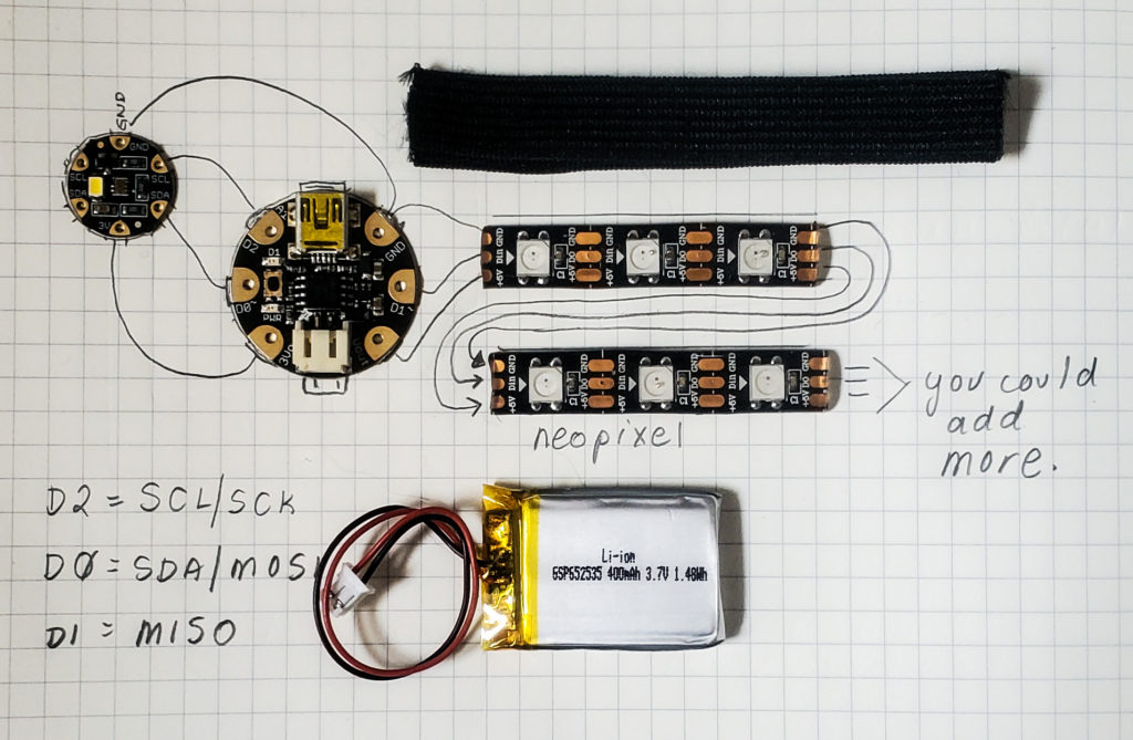 mapping out the circuit for neopixel jewellery